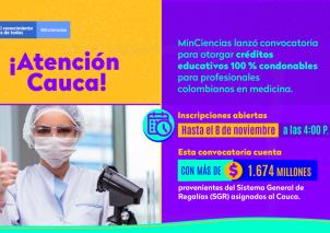 •Esta convocatoria tiene como fin incrementar el capital humano con formación de alto nivel para la investigación, el desarrollo tecnológico y la innovación en el sector salud de este departamento.